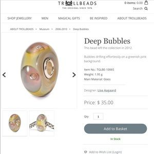 Authentic Deep Bubbles Retired TrollBead .925